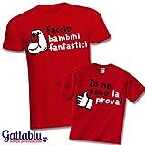 Set padre e figlio t-shirt uomo + t-shirt bimbo Faccio bambini fantastici. Io ne sono la prova! Idea regalo divertente per la Festa del Papà!