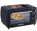 3in1 Mini Backofen 20 Liter mit Umluft inkl. Warmhalteplatte | Minibackofen | Pizza-Ofen | Krümelblech | zuschaltbare Umluft...