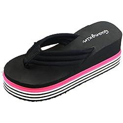 Chanclas mujer plataforma gruesa, Culater Sandalias de verano zapatillas de interior al aire libre zapatos de playa (37, Negro)