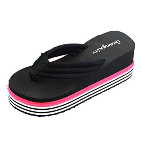 Chanclas mujer plataforma gruesa, Culater Sandalias de verano zapatillas de interior al aire libre zapatos de playa (38, Negro)