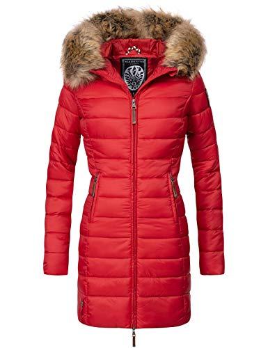 Marikoo Damen Winter-Mantel Steppmantel Rose Rot Gr. XL