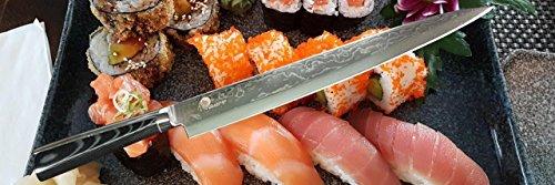 "El cuchillo de cocina Dellinger Profesional Damascus Yanagiba, Sashimi 10,5"", VG10 – 67 capas con un mango ergonómico en un paquete de regalo"
