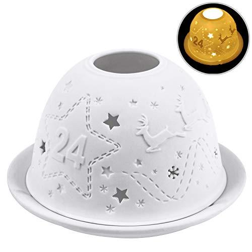 Nachtlichter, Kimfly Keramik Kerzen Teelichter Elektrische Weihnachtskerzen für Halloween, Weihnachten, Geburtstag, Zuhause, Abendessen, Hochzeit, Party, Dekor (Heiligabend (Geschenk-Set))