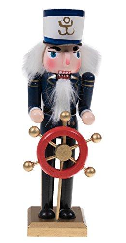 Clever Creations - Nussknacker-Kapitän mit Helm und Ruder - perfekt für Jede Sammlung - festlich Maritime Weihnachtsdeko - ideal für Regale und Tische - 100{2f2871b4b826b51e6f11864b41ca09f7ac416a366778bf2fabecd723a719904f} Holz - 20,3 cm