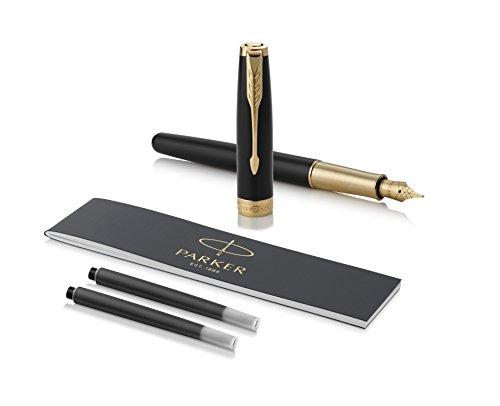 PARKER Sonnet penna stilografica, laccatura di colore nero con finiture in oro, pennino sottile 18 K - Confezione regalo