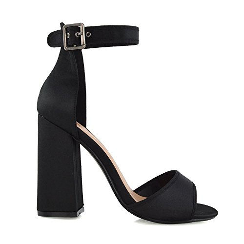 Essex Glam Sandales Pour Femme Schwarz Satin