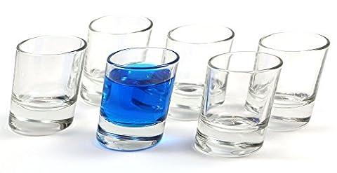 idea-station Pisa Lunettes de tir 6 pièces, max. 5 cl verres transparents obliquement Set 6 pièces peuvent également être utilisés comme une matrice, des lunettes de tir, lunettes de tir, verre décoratif, whisky tumbler