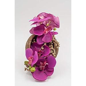 Exotisches Tischgesteck mit pinken Orchideen-Tischdeko mit künstl.Blumen,Canella+Budha Nut