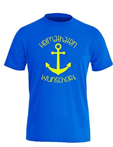 Heimathafen - Wunschort - Anker - Wunsch - Herren Rundhals T-Shirt Royal/Neongelb
