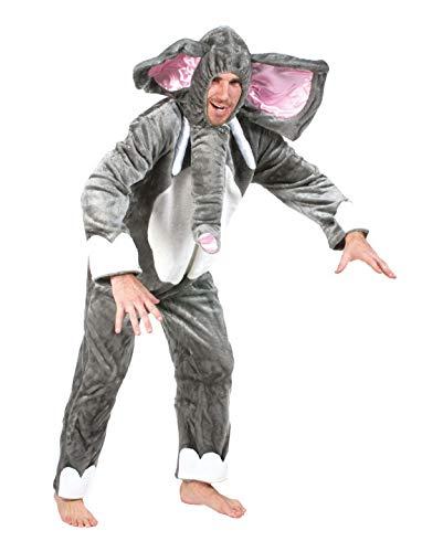 Luxuspiraten - Herren Männer Kostüm Plüsch Elefant Elephant Dumbo Fell Einteiler Onesie Overall Jumpsuit, perfekt für Karneval, Fasching und Fastnacht, M, Grau (Elephant Mann Kostüm)