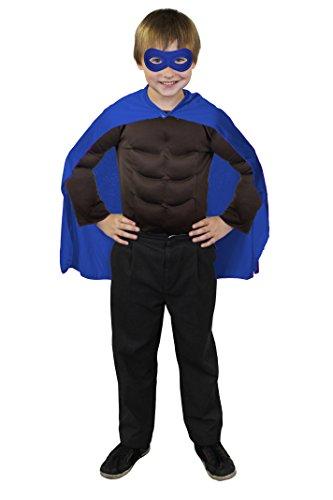 ILOVEFANCYDRESS SUPERHELDEN Hero Kinder=Jungen+ MÄDCHEN=MIT+OHNE FARBLICH PASSENDER Augenmaske+MIT MUSKELSHIRT=KOSTÜM VERKLEIDUNG Fasching UND Karneval=UMHANG+Maske-BLAU+Muskel Shirt/STANDART-BRAUN