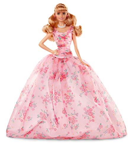 Barbie- Collector Birthday Wishes, Bambola Bionda con Abito a Fiori, Piedistallo e Certificato di Autenticità, FXC76