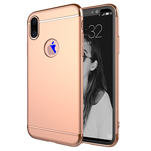 iPhone X Handycover, MOONMINI Electroplating PC Frame 3 in 1 Hybrid Hülle Hart PC Stoßfest Back Abdeckung Non-slip Handytasche Schutzhülle Cover Shell für iPhone X Schwarz Rose Gold