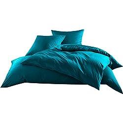 Mako-Satin Baumwollsatin Bettwäsche Uni einfarbig zum Kombinieren (Kissenbezug 40 cm x 80 cm, Petrol Blau)