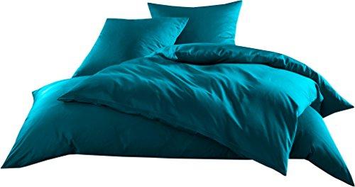 Mako-Satin Baumwollsatin Bettwäsche Uni einfarbig zum Kombinieren (Bettbezug 240 cm x 220 cm, Petrol Blau)