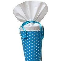 Schultüte aus Stoff türkis und weiß Sterne Zuckertüte für Jungen und Mädchen