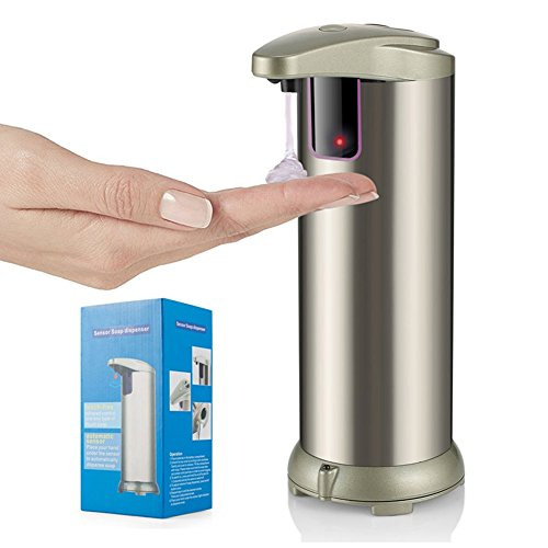 Automatic Soap Dispenser, HOMCA 280ML Stainless Steel Touchless Hand Free Motion Sensor Lotion Dispenser With Waterproof Base For Kitchen and Bathroom Office
