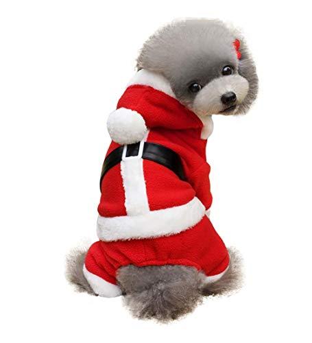 Weihnachtskostüm Haustier Katze Hunde Anzug mit Kappe Santa -