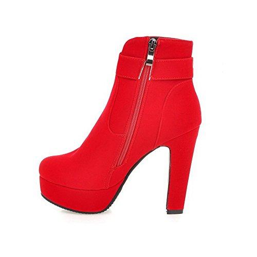 AllhqFashion Damen Mattglasbirne Niedrig-Spitze Nietbolzen Reißverschluss Stiefel, Rot, 41