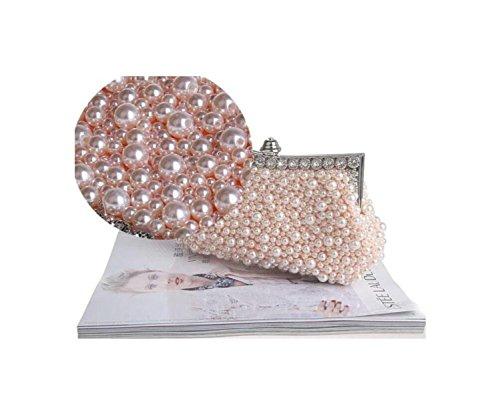 GSHGA Damenhandtaschen Abendtasche Strass Hochzeit Tasche Braut Kleid Tasche Perlenhandtasche,Champagne champagne