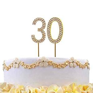 Gifts 4 All Occasions Limited SHATCHI-816 - Decoración para tarta (número 30), diseño de diamantes, color dorado