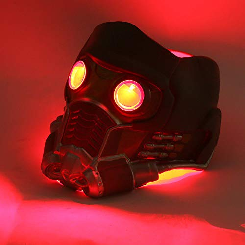 VAWAA Film Wächter Der Galaxy Star Lord Infinity War Cosplay Kostüme Led Lichter Helm Latex Maske Prop - Star Lord Kostüm Helm