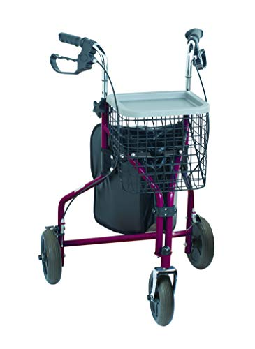 Nottingham Rehab Supplies M91139 NRS Rollator, 3-Rollen, rot
