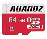 Carte mémoire MicroSD 64Go Auanoz Micro SDXC Classe 10 UHS-I Carte mémoire Haute Vitesse pour téléphone, Tablette et PC - avec Adaptateur (Rouge-64gb)