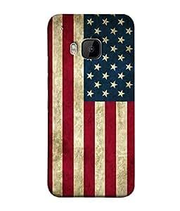 PrintVisa Designer Back Case Cover for HTC One M9 :: HTC One M9S :: HTC M9 (Patriotic Texture Symbol Blue Red White USA)