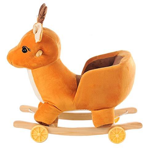 Rocking Horse Baby-Plüsch-Schaukelpferd Kleinkind-Rocker Für 6 Monate Bis 8 Jahre Schaukeln Von Tieren Baby-Rocker-Sitz Indoor-Outdoor-Schaukelpferd Aus Holz,Smalldeer