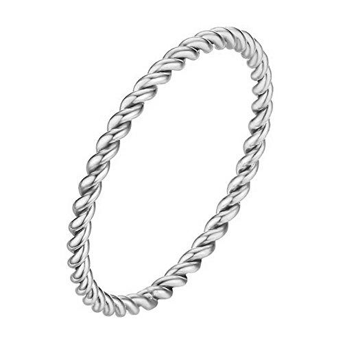 PAMTIER Frauen Edelstahl 1.5MM Dünnes Seil Hochzeit Band Ring Silber Größe 60 - Hochzeit-band-ring Frauen Für