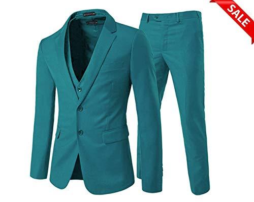 Yanlu Slim Fit Hochzeit Anzug 3 Stück Herren Anzug Bräutigam Smoking 2 Knöpfe weiß - grün - Brust44''/Taille38'' -