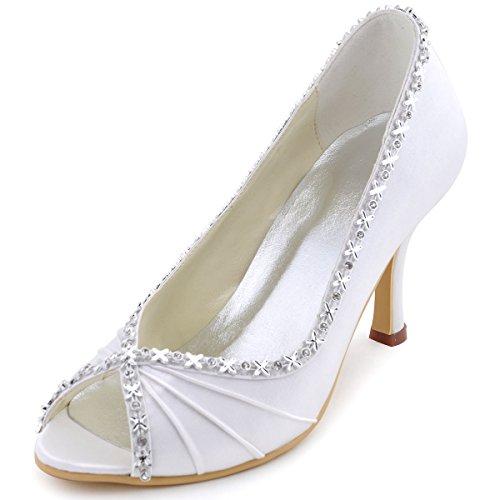 Elegantpark EP2094 Bout Ouvert Crinklinge Satin Pompes Moyen Talon Femmes Soiree Chaussures de Mariee Ivoire