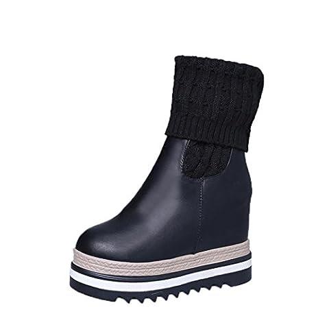 Bottes et boots,Transer® Les femmes de mode cales genou-Bottes haute coton-rembourré chaussures d'hiver (38, Noir)