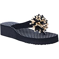 HD Casual Rubber Flip-Flop Slippers For Women (Black) (FBA HEEL_PHOOL_BLACK39)