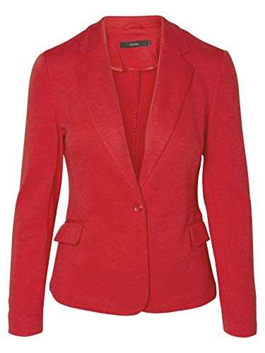 VERO MODA Damen Jersey-Blazer Business-Look Übergangsjacke (34, Chinese Red)