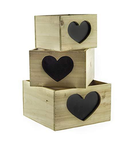 BlueBD 3 Set Vintage Handarbeit, Dekokisten Holzkiste Regal Sammler Setzkasten Dekoration Box, Shabby-Chic, Landhaus Stil, Cottage Style (Herz) -