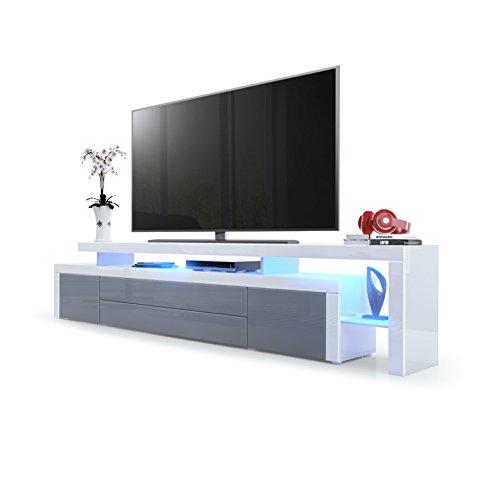 TV Board Lowboard Leon V3, Korpus und Überbau in Weiß Hochglanz / Front in Grau Hochglanz mit Rahmen in Weiß Hochglanz inkl. LED Beleuchtung