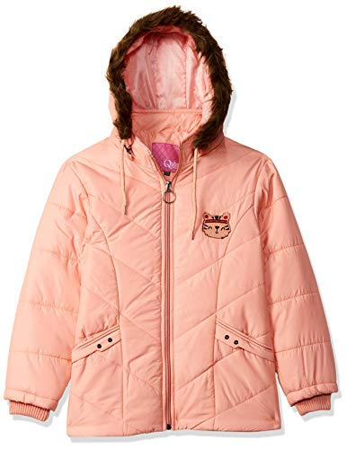 Qube By Fort Collins Girl's Quilted Regular fit Jacket (1190AZ_Light Peach_36)