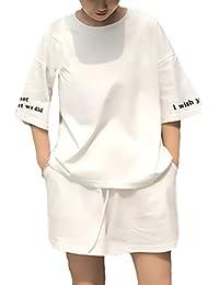 66c7e9fc0401 Battercake Conjuntos Mujer Elegantes Verano Manga Corta Cuello Redondo T- Shirt Y Pantalón Corto Casuales Mujeres Shorts Carta…