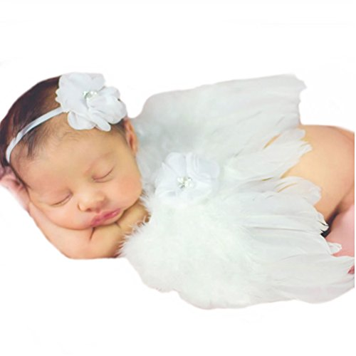 Veewon Neugeborene Baby Mädchen Jungen Kostüm Fotografie Props Feder-Engels-Flügel-Stil Outfit mit Stirnband Set (Weiß) (Engel Flügel Für Baby)