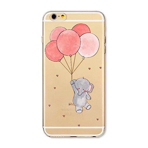 MUTOUREN Apple iPhone 6/6S funda de movil TPU silicona Case Caso Cover shell Soft cáscara protectora iPhone 6/6S Sistemas de teléfono móvil shell manguito moda dibujos animal globo elefante teléfono concha