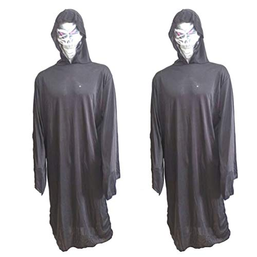 Happyyami 2 stücke erwachsene sensenmann kostüm scary ghost face kostüm halloween robe kapuzenmantel kompatibel für 175-185 cm (Ghost Face Kostüm Für Erwachsene)