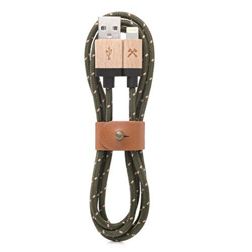 Woodcessories - Kabel kompatibel mit Apple Lightning Produkten aus Holz & Nylon - EcoCable (Ahorn/Grün-braun) -