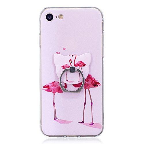 Hülle für Apple iPhone 7 / 8 , IJIA Transparent Pony Einhorn TPU Weich Silikon Stoßkasten Cover Handyhülle Schutzhülle Handytasche mit 360 Grad Drehung Finger Ring Case Tasche für Apple iPhone 7 / iPh FD60