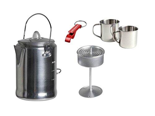 Alu Camping Trekking Kaffeekanne mit Percolator + 2x Edelstahltasse + Flaschenöffner