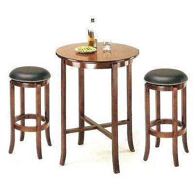 3pcs York Cherry Pub Table Set with 2 Bar Stools by Acme Furniture - Cherry Bar Set