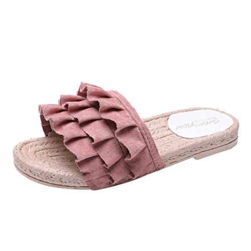 Btruely Sandalen Damen Sommer Slipper Flowers Sandals Flach Strandschuhe Böhmen Schuhe Zehentrenner Standschuhe Low Heel Sandalen (Pink Sandal Flower)