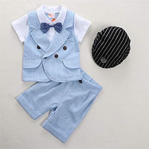 rumiao Jungen Sommer Anzug Baby Kleidung 1-2 Jahre Alt Sommer Dünne Kurze Ärmel Zweiteilige Baby Alter Kleid Gentleman Anzug Set,Blueplaid-35.43in (Baby-ring-bearer-outfit)