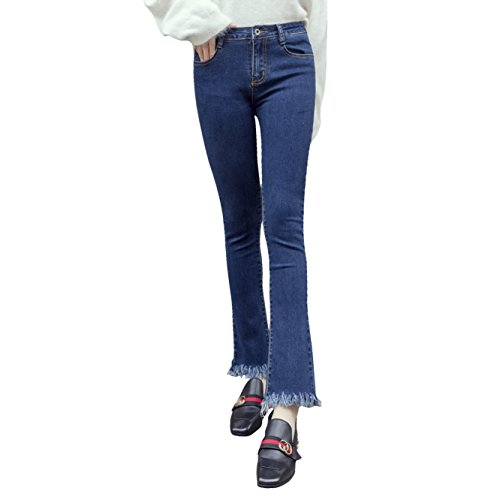 Men UK Donne vita alta Retro Micro-zampa d'elefante Versione coreana era sottile gamba larga Large Size nove pantaloni pantaloni moda per il tempo libero ( colore : Drak Blue , dimensioni : 29-30(L) )